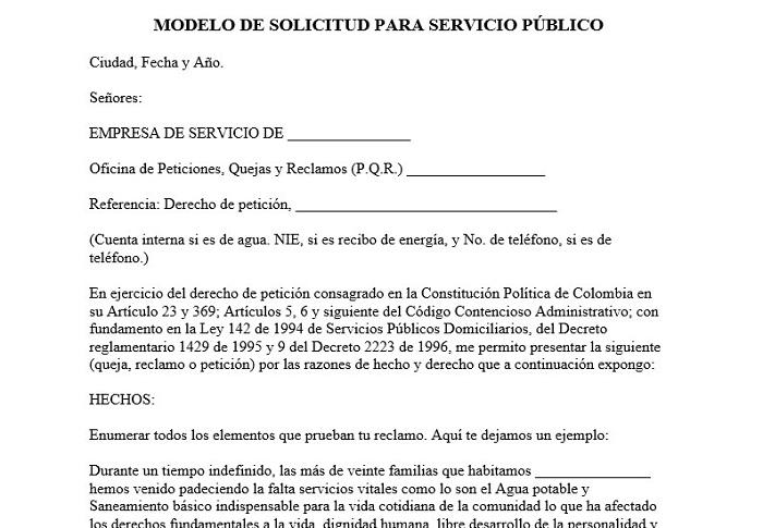 Derecho de petición para servicios públicos