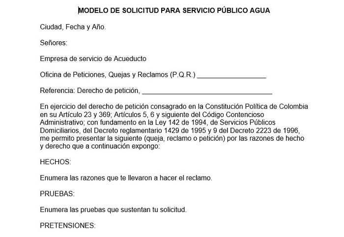 Modelo de solicitud para servicios públicos Agua