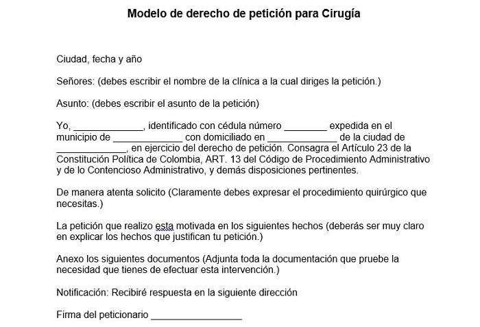 Modelo de derecho de petición para Cirugía