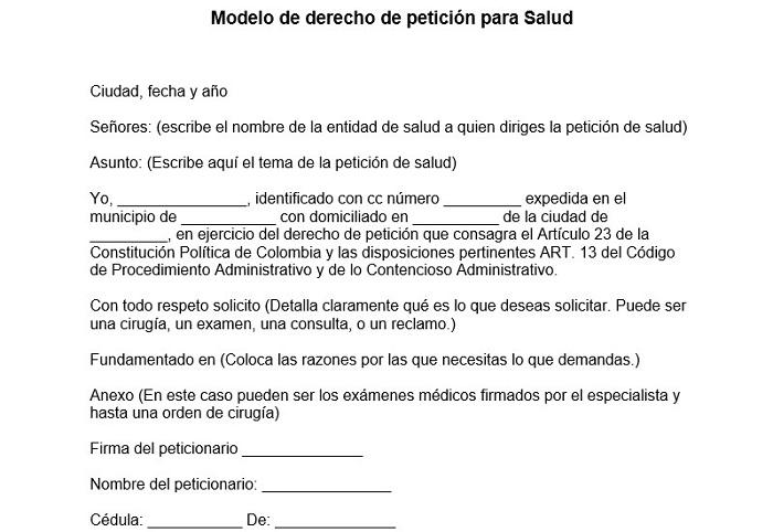 Modelo de derecho de petición para Salud