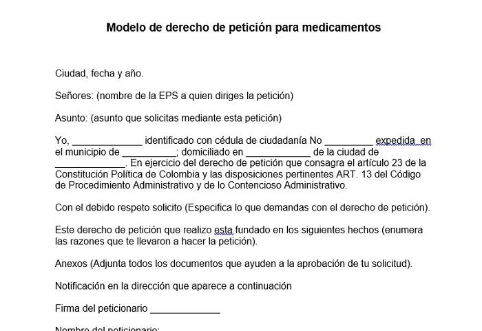 Modelo de derecho de petición para medicamentos