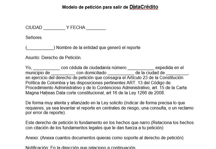 Modelo de petición para salir de DataCrédito