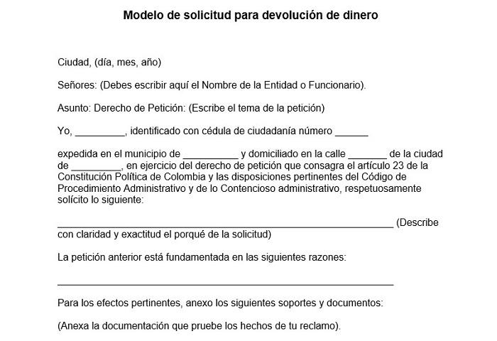Modelo de solicitud para devoluci贸n de dinero
