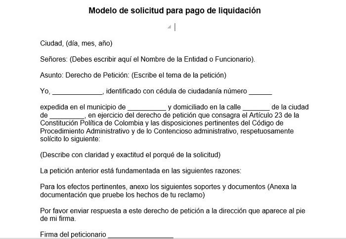 Modelo de solicitud para pago de liquidación