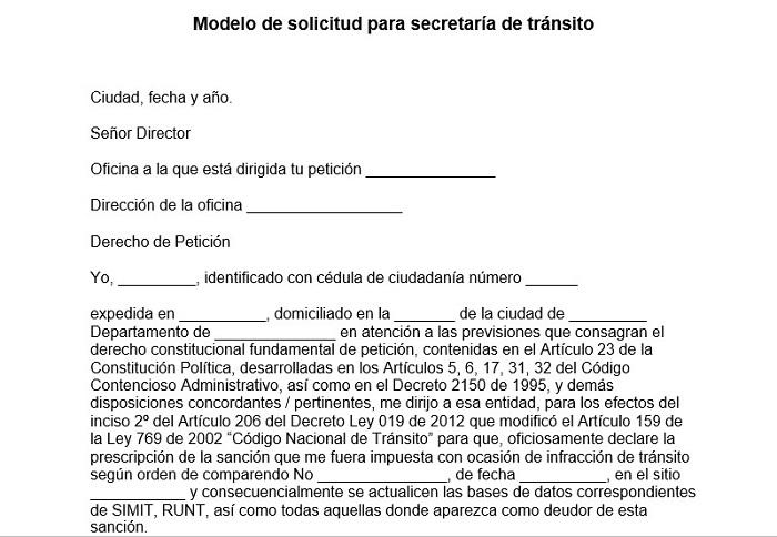 Modelo de solicitud para secretaría de tránsito
